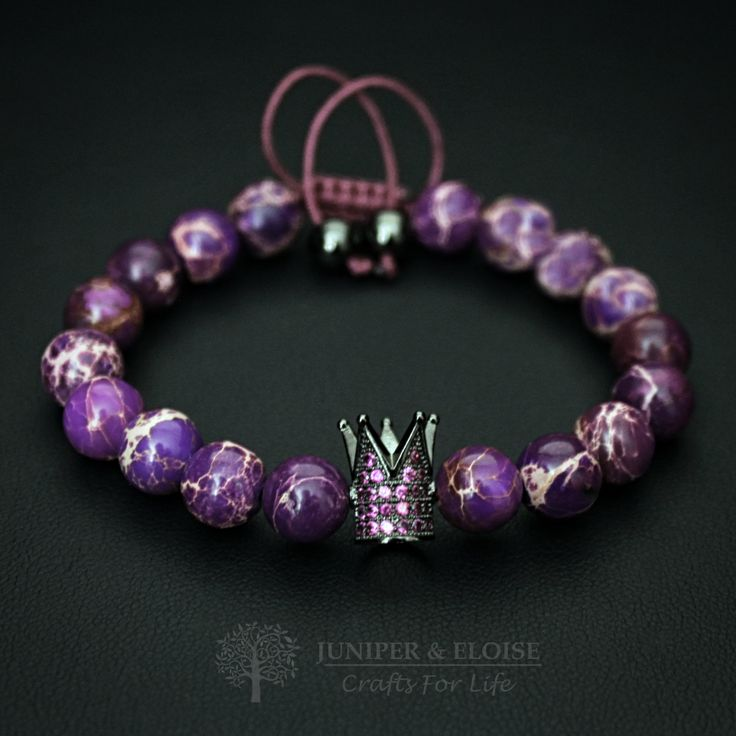 Crown Bracelet, Purple Bracelet, Crown charm, Valentines Day Gift, Royal Jewelry, Fuchsia Zircon, Mothers Day Gift by JuniperandEloise on Etsy