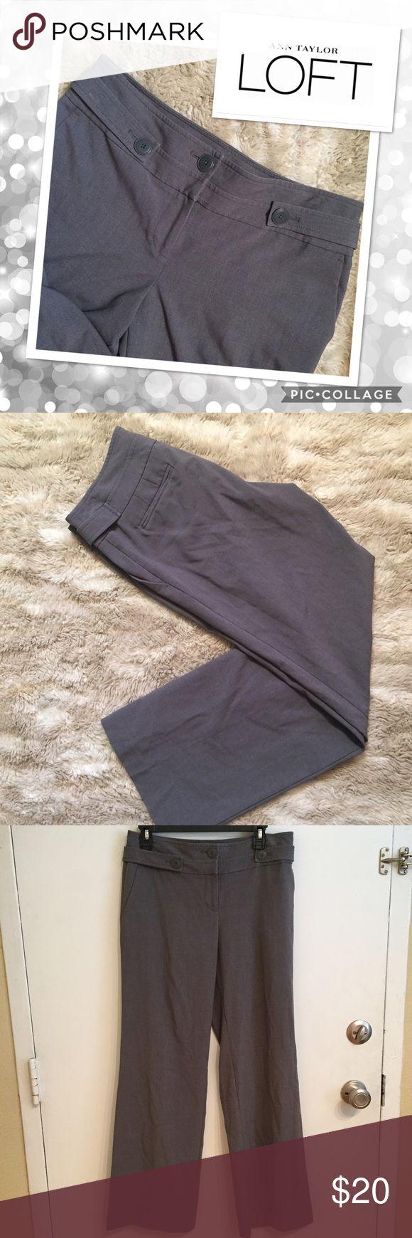 "🐣5for$25🐣Ann Taylor LOFT Grey Side Button Slacks Ann Taylor LOFT grey side Button detail dress slack pants. Size 4. Measures 15.5"" flat at waist, 31"" inseam, and 10.5"" leg opening. #anntaylor #loft #anntaylorloft #grey #button #gray #slacks #pants #trousers #interview #businesscasual #punkydoodle  No modeling Smoke free home I do discount bundles LOFT Pants"