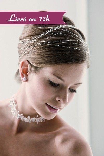 Headband mariage (LR-77195) Headband mariage romantique Orné de perles, cet accessoire cheveux mariage ajoutera une touche de raffinement à votre coiffure de mariée. Le headband s'adapte à votre style, porté sur cheveux long en serre-tête, sur cheveux courts, version bohème ou enroulé autour d'un chignon. Le headband est l'accessoire cheveux indispensable cette année ! Caractéristiques techniques Longueur : 50 cm Coloris : argent Composition : perles
