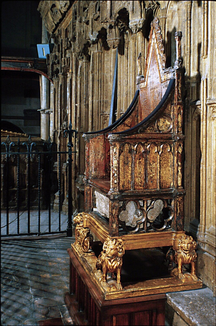 The Coronation Chair of England (aka King Edward's Chair) is the throne on which the British monarch sits for the coronation. It was commissioned in 1296 by King Edward I to contain the coronation stone of Scotland — known as the Stone of Scone — which he had captured from the Scots.  It was carved in 1297 from oak by a carpenter known as Master Walter, who was paid the considerable sum of 100 shillings for his work.