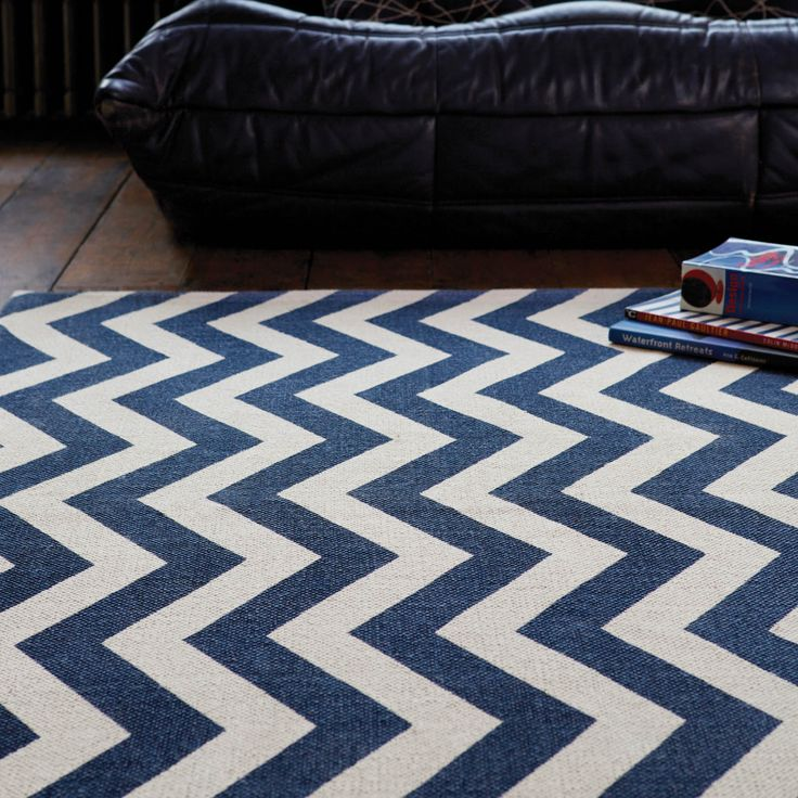 Onix Zig Zag Rugs In Blue Online From The Rug Er Uk
