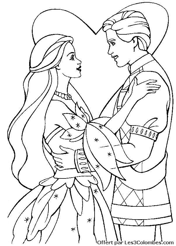 Coloriage princesse barbie colorier dessin imprimer dessin pour enfant pinterest - Coloriage princesse barbie ...