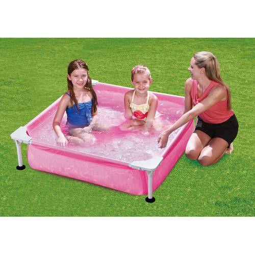 Kids Swimming Pool  Mini 4' Rectangular Metal Frame Above Ground Outdoor Girls #KidsSwimmingPool