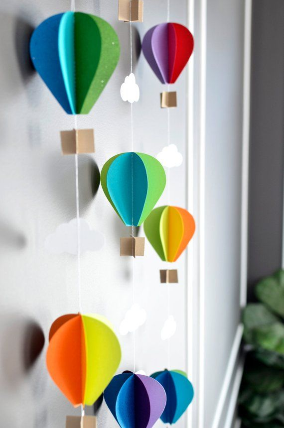 Multiple Strands Hot Air Balloon Garland, Up Up and Away, Rainbow, Birthday Party Decor, Nursery Decor, Photo prop, Shower Decor