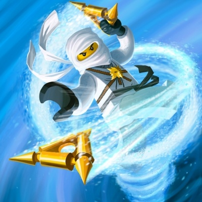 White Ninjago figure in action