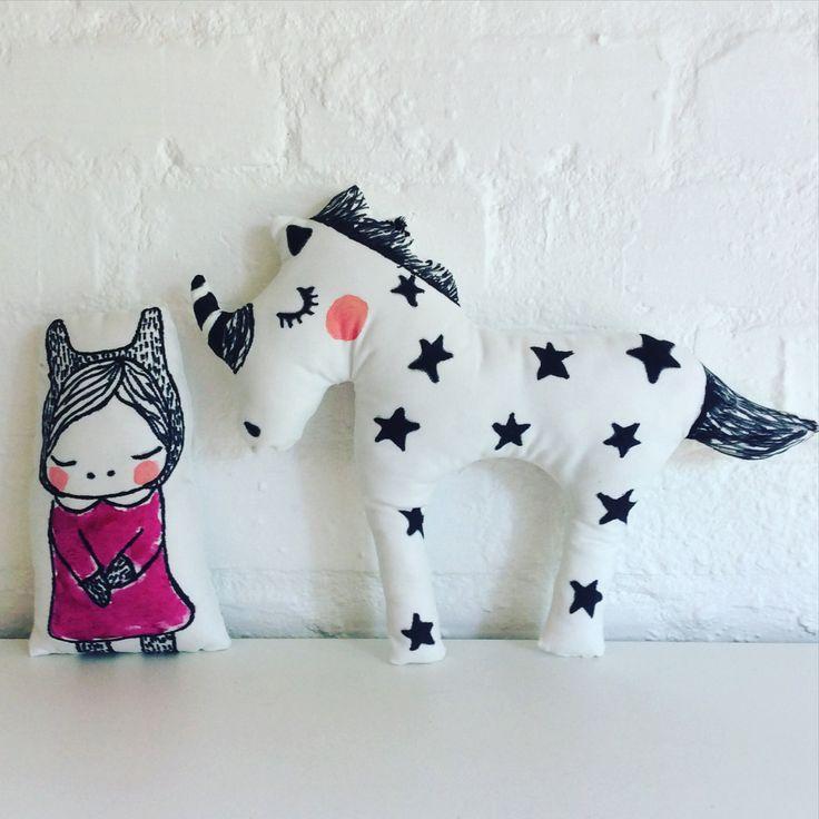 Unicorn and Princess Decorative Pillows by Poprikot on Etsy