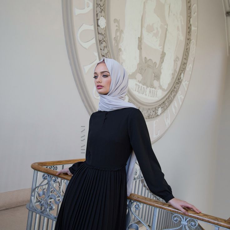 Vintage styles and chic pleats in this classic black dress. Black Pleat Skirt Maxi #Dress + Feather Grey Rayon #Hijab - www.inayah.co