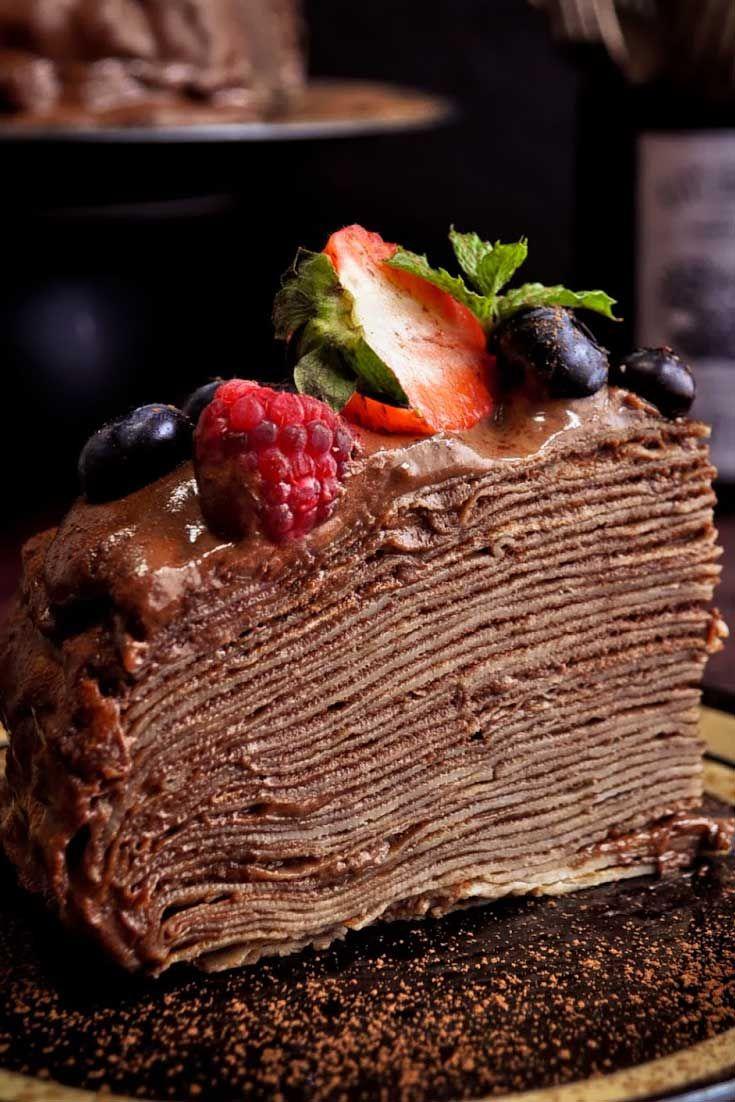 Amazing Crepe Cake With Blackberry Schnapps Chocolate Mousse Recipe Birthday Cards Printable Giouspongecafe Filternl