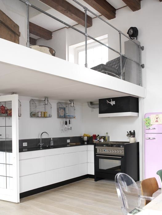 With the kitchen below