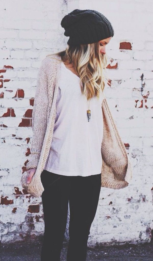 Neutral cardigan, perfect for layering over bra & panty set. Also, looks super cozy :)