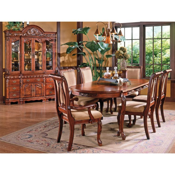 Greyson Living Melodie Traditional Dining Set With Optional Buffet And  Hutch (Melodie 8PC Set (tbl, 4 S, 2 Arm, Buff, Hutch)), Red Cherry, Size  8 Piece Sets