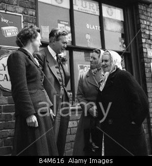 Harold Wilson a future Prime Minister canvassing for votes in Huyton Liverpool where he is the Labour Candidate 1955 Seen here w Stock Photo