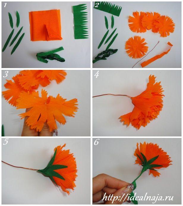 DIY Crepe Paper Carnation Flowers  Как сделать гвоздику своими руками
