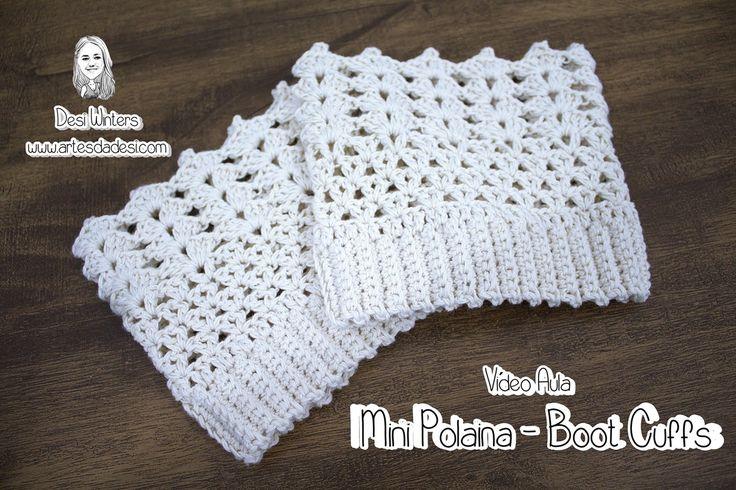Vídeo Aula Mini Polaina - Boot Cuffs de crochê ***Antes de começar verifique a medida de sua perna, para que o tamanho fique correto*** www.facebook.com/Arte...