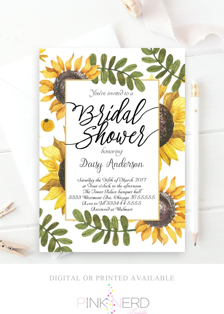 Sunflower bridal shower invitation, watercolor flower invitation - Pink Nerd Printables