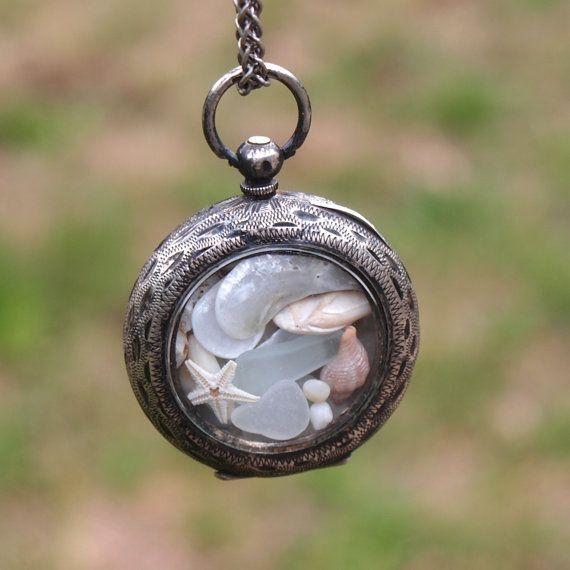 Brise de mer mer antique verre Pocket Watch en argent par newsprout