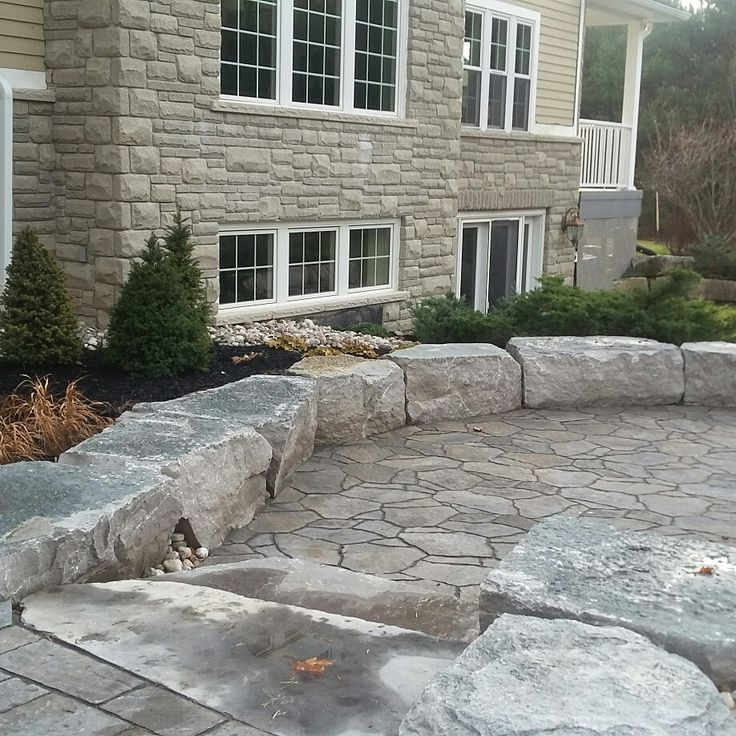 two levels patio precast pavers mega arbel mondrian permacon natural stone - Garden Ideas On Two Levels