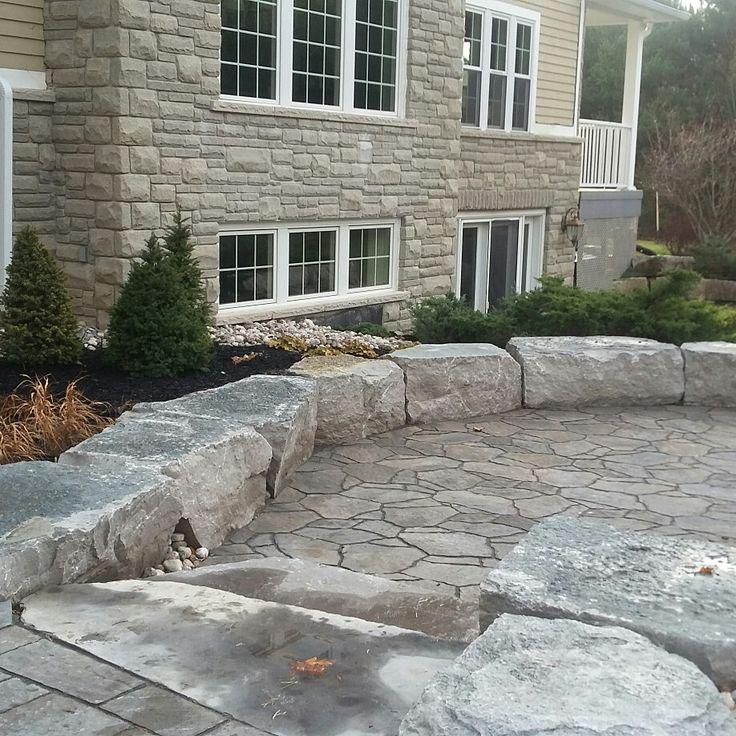 Two levels patio, precast pavers, mega arbel, mondrian, Permacon,  natural stone random flagstone steps,armour rocks, garden, natural, organic design.