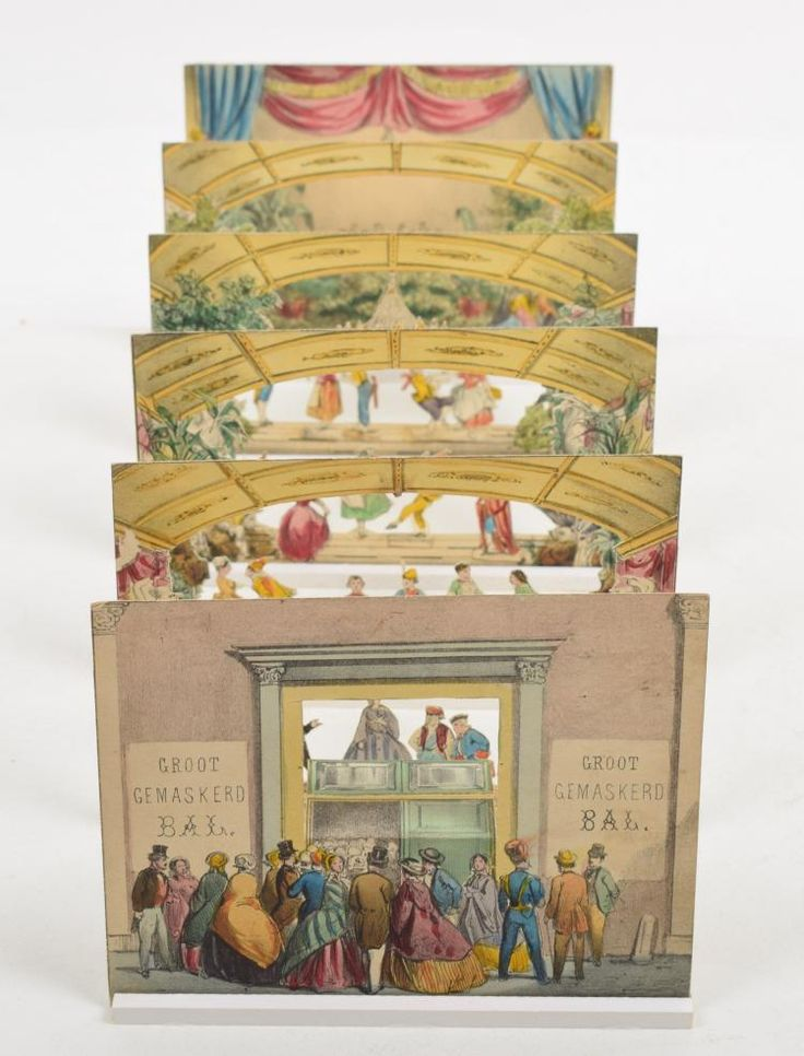 [Peepshow] Gemaskerd Bal   H.L. van Hoogstraten, ca. 1860. 6 table-top tableaux together creating a diorama. Unscathed, in very good condition. 12.8 x 16.1 cm.