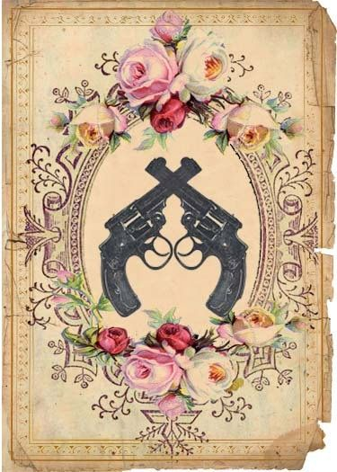 Guns Roses and Swallows - Custom Etsy Shop Package - Vintage Victorian Tattoo Inspired Shop Banner Avatar and Custom Shop Graphics.