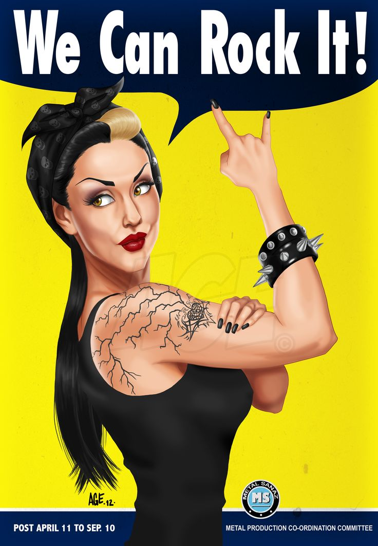 We Can Rock It  by =agevelez  Digital Art / Drawings / People©2012 =agevelez  My tribute to the famous WWII Rosie the riveter We Can Do It poster. I have a pic of my model, Sanaz where she was posed like like the famous poster.