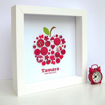 Personalised Button Apple Picture
