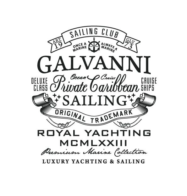 GalvanniVintage Types, Galvanni Sailing, Galvanni Typography, Logo Design, Inspiration, Sailing Club, Sailors Typography, Graphics Design, Sailing Logo