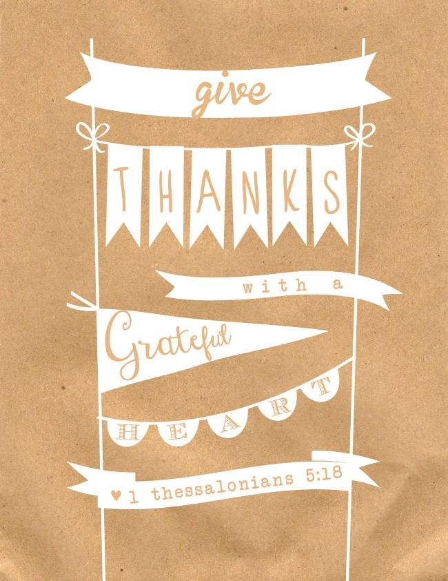 Give Thanks with a Grateful Heart - FREE Thanksgiving Printable at anightowlblog.com | #thanksgiving #printable