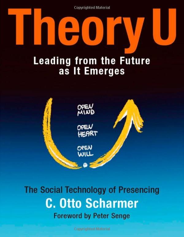 Theory U is een methodiek om transformationele verandering te realiseren; 'leiden vanuit de toekomst die zich aandient'. De crux van deze Theory is om jezelf onvoorwaardelijk dienstbaar te maken aan de toekomstige mogelijkheid die door jou verwezenlijkt wil worden. De 'U' vormt daarbij de groeicurve waarbij Scharmer drie fases onderscheidt: het 'innerlijke werk', 'werking' en het 'uiting geven aan het werk'.