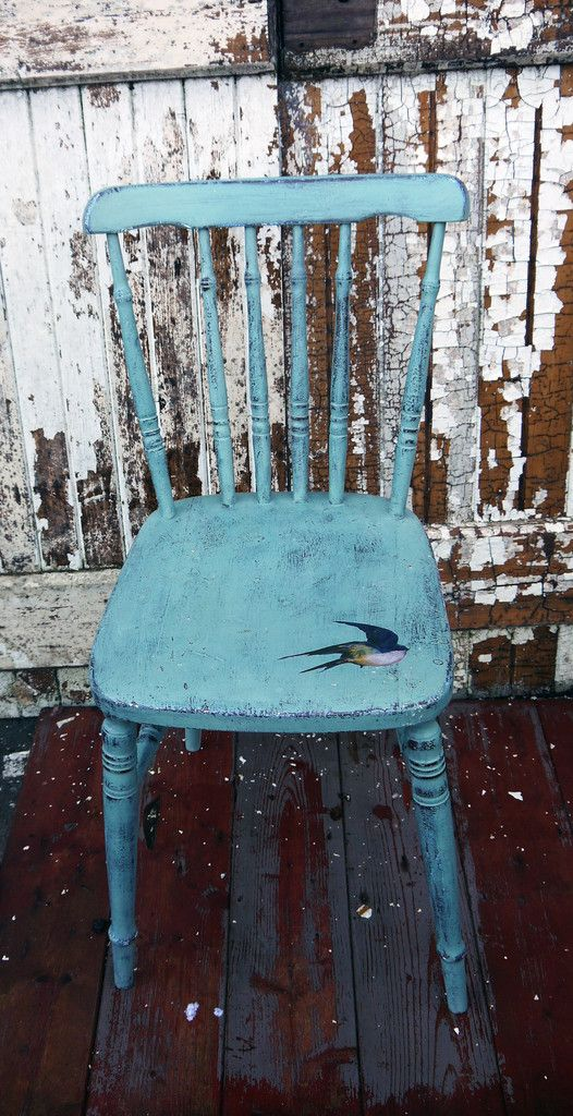 Vintage hand painted  chair in Miss Mustard Seed Milk Paint Kitchen Scale with bird decoupage