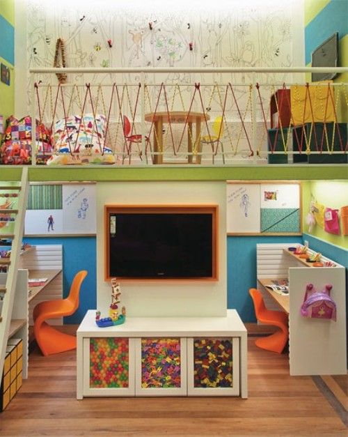 What an awesome use of vertical space!  (if you have high ceilings) :)