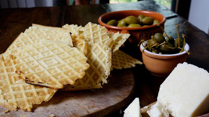 Savoury white wine and olive oil waffles (to accompany a cheese and olive platter)