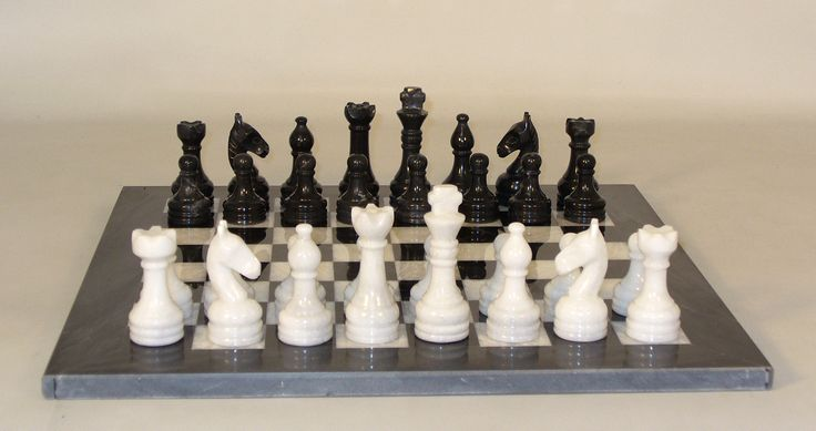 """Marble Chess Set 16"""" Black and White with Black Frame 3.5"""" King Pakistan"""