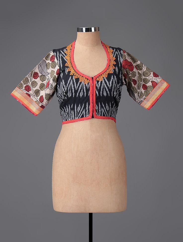 Buy Black-Red Hand-painted Kalamkari Ikat Cotton Blouse Online at Jaypore.com