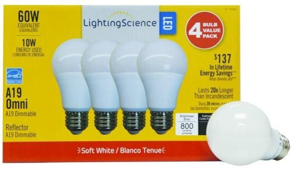 A19 Standard LED 40 Watt Equivalent Light Bulb (4 Bulbs)