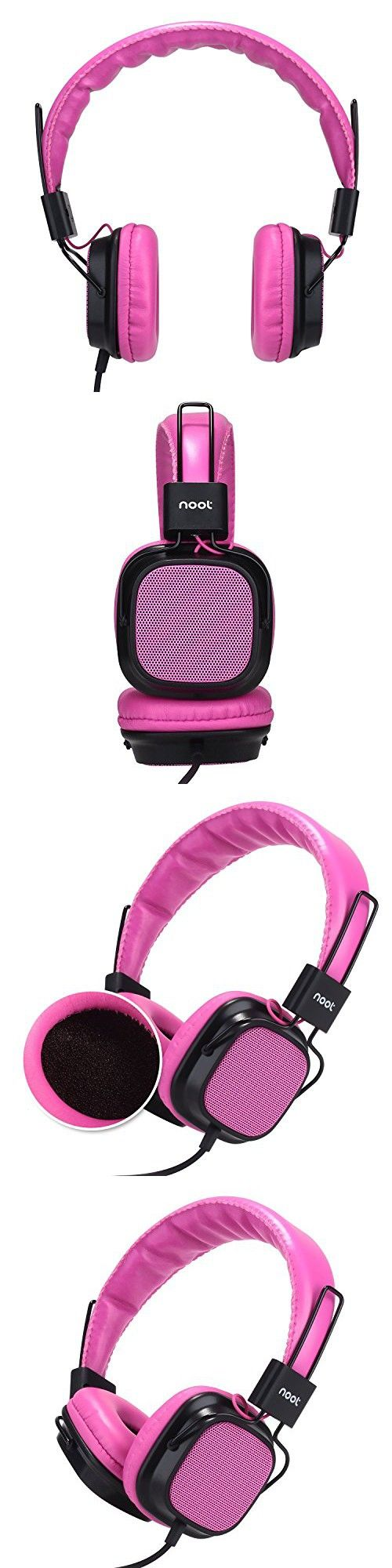 Kids Headphones with Microphone - Noot Products H4 Pink Wired On-Ear Headset for Girls Children Toddlers School Compatible with iPhone, iPad, iPod, Samsung, HTC, LG and all 3.5mm Devices