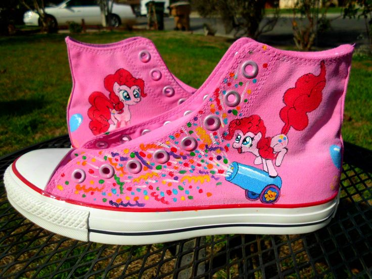Pinkie Pie Party Cannon Confetti Burst Custom Painted Shoes MLP My Little Pony Ponycon comiccon. $93.00, via Etsy.