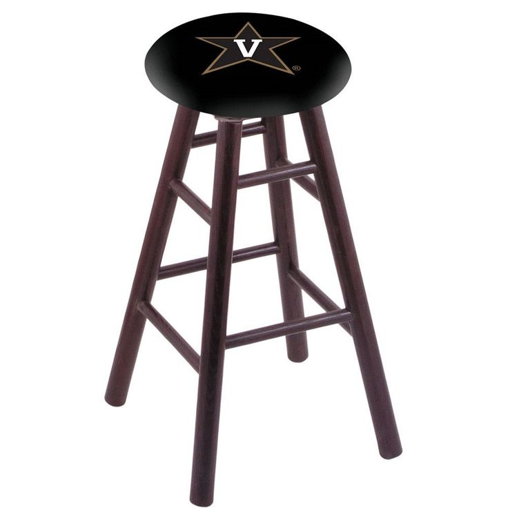 Vanderbilt Commodores Swivel Stool w/ Dark Cherry Oak Wood Base