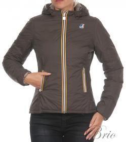 Giacca K-WAY jacket LILY THERMO PLUS DOUBLE Col. C99 BLACK COFFE-GREY CIN (marrone caffè-tortora) Giacca K-WAY da donna double (reversibile). Slim fit (vestibilità slim).