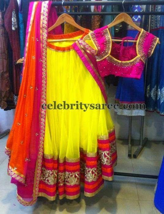 Simple Lemon Green Half Saree | Saree Blouse Patterns