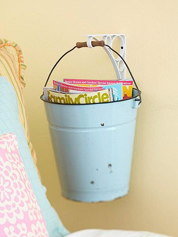 A bucket and a bracket = cute magazine/toy/towel holder