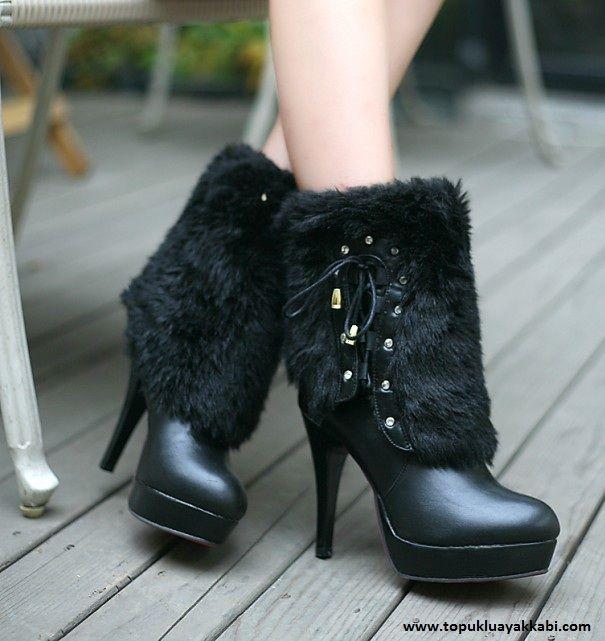 Topuklu platform dizaltı kürk siyah çizme