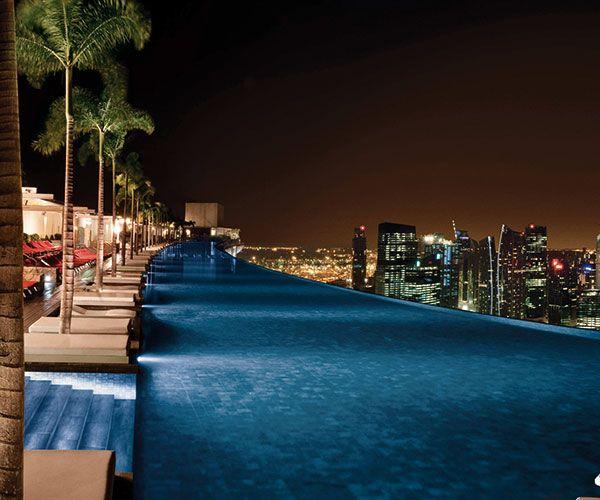 Marina Bay Singapore - 57 levels above ground - Pool Night time