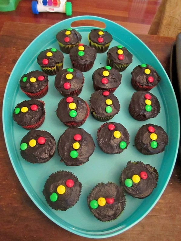 the kids sorted the colored street light themed M& M's for our race car party cupcakes