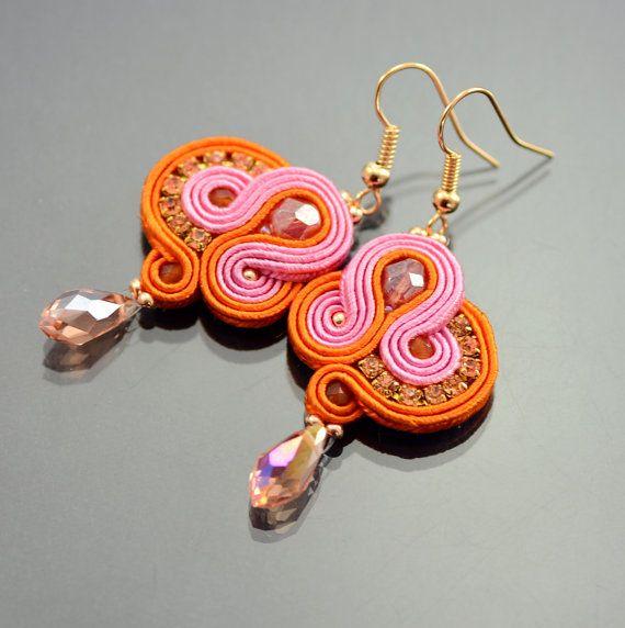 Small Pink Soutache Earrings , Dangle Earrings, Orange Pink Earrings, Gold Dangle Earrings, Small Dangle Earrings, Soutache Earrings