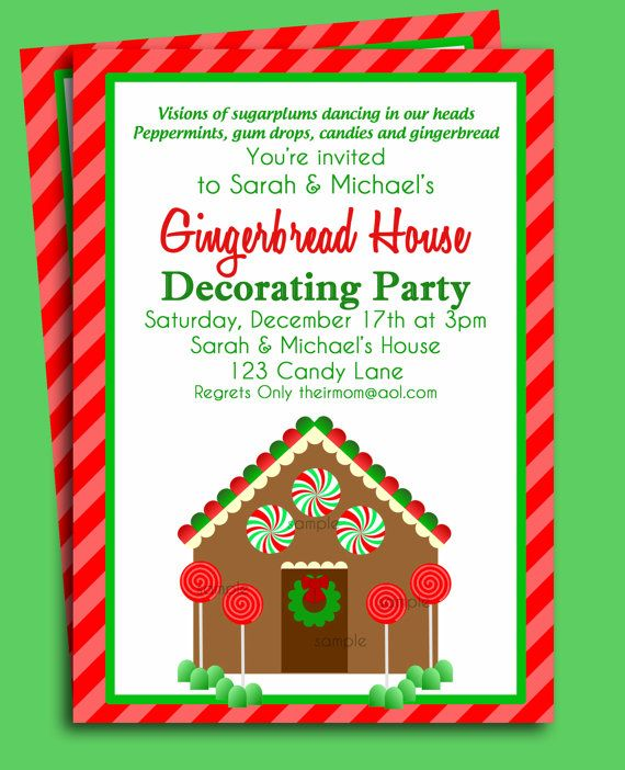 Gingerbread House Invitation Printable Christmas Party Or Holiday
