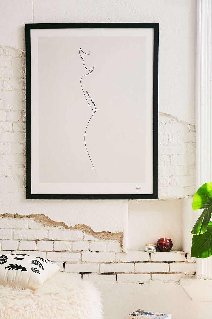 Bathroom wall decorations - Quibe One Line Nude Art Print