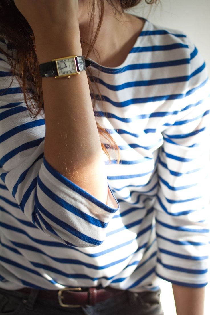 Saint James Classic Meridien Breton top and Cartier Tank Watch…
