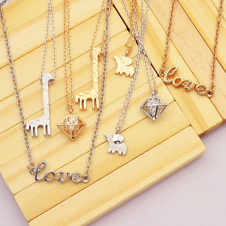 New fashion jewelry Elephant giraffe love pendant necklace  gift for women girl N1738 >>> Click image to review more details.