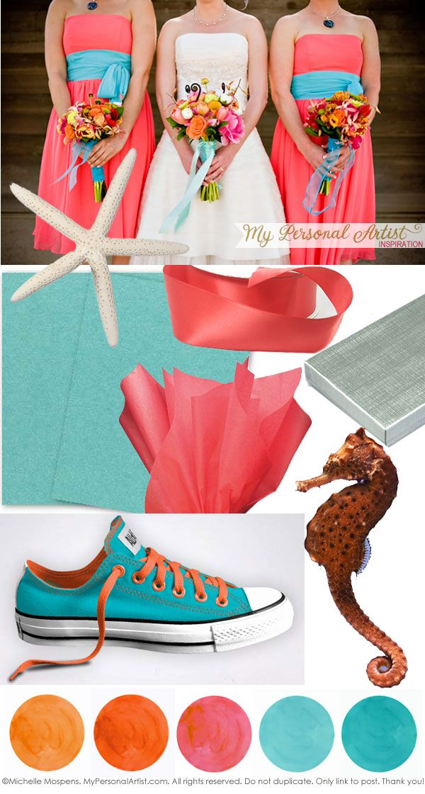 colorful beach wedding color combos. love these colors.